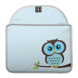 Cute Blue Owl Sleeve For MacBooks