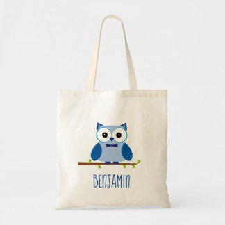 Cute Blue Owl Tree Branch Tote Bag