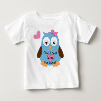 Cute Blue Owl with Pink Hearts Baby T-Shirt