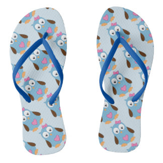 Cute Blue Owl with Pink Hearts Flip Flops