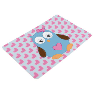 Cute Blue Owl with Pink Hearts Floor Mat