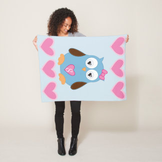 Cute Blue Owl with Pink Hearts Monogrammed Fleece Blanket
