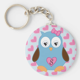 Cute Blue Owl with Pink Hearts Monogrammed Keychain