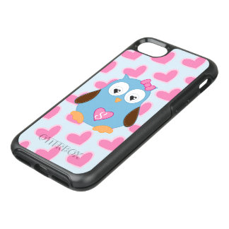 Cute Blue Owl with Pink Hearts Monogrammed OtterBox Symmetry iPhone 8/7 Case