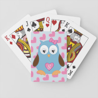 Cute Blue Owl with Pink Hearts Monogrammed Playing Cards