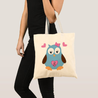 Cute Blue Owl with Pink Hearts Monogrammed Tote Bag