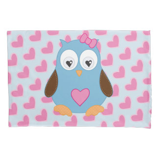 Cute Blue Owl with Pink Hearts Pillowcase