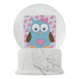 Cute Blue Owl with Pink Hearts Snow Globe