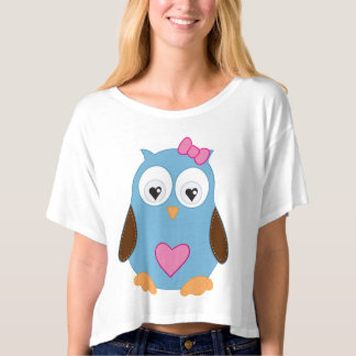 Cute Blue Owl with Pink Hearts T-shirt