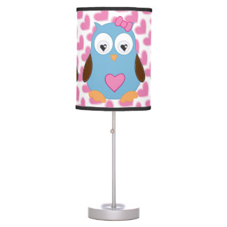 Cute Blue Owl with Pink Hearts Table Lamp