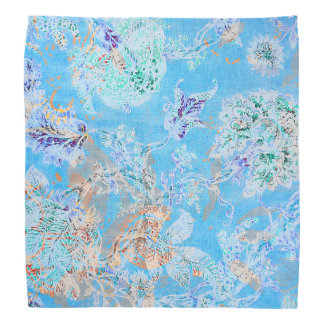 Cute blue pastel floral bandana