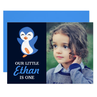 Cute Blue Penguin Baby Boy First Birthday Party Card