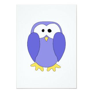"Cute Blue Penguin. Penguin Cartoon. 5"" X 7"" Invitation Card"
