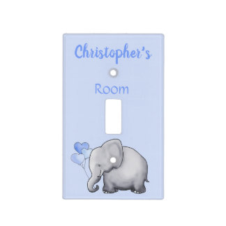 Cute Blue Personalized Elephant Baby Boy's Nursery Light Switch Cover
