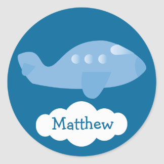 Cute Blue Personalized Plane & Cloud Stickers