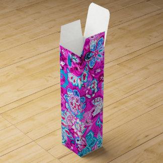 Cute blue pink flowers patterns wine gift box