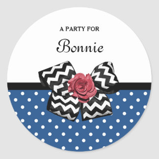 Cute Blue Polka Dots Red Rose Chevron Bow and Name Round Sticker