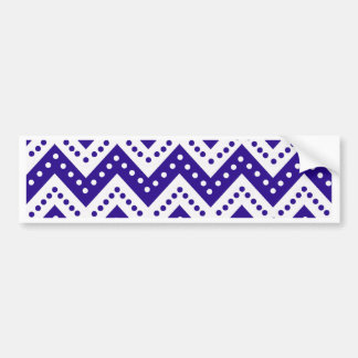 Cute Blue Polkadot Zigzags Bumper Sticker