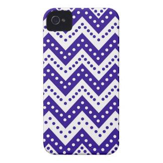 Cute Blue Polkadot Zigzags Case-Mate iPhone 4 Case