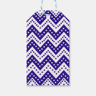 Cute Blue Polkadot Zigzags Gift Tags
