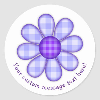 Cute Blue Purple Country Plaid Graphic Flower Icon Classic Round Sticker