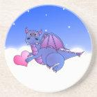 Cute Blue Purple Dragon Flying in Clouds w/ Heart Coaster