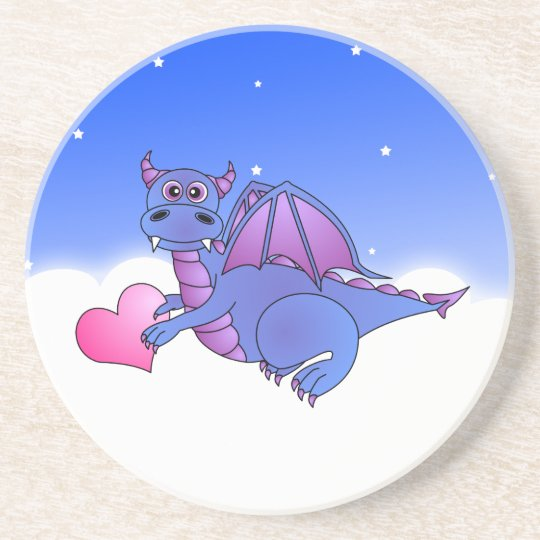 Cute Blue Purple Dragon Flying in Clouds w/ Heart Coaster