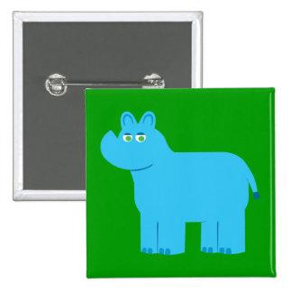 Cute Blue Rhino 2 Inch Square Button
