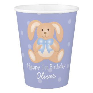 Cute Blue Ribbon Bunny Rabbit First Birthday Party Paper Cup