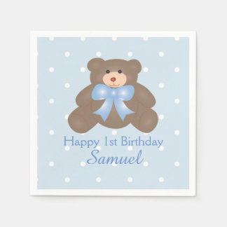 Cute Blue Ribbon Teddy Bear Boy Birthday Party Disposable Napkin