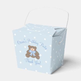 Cute Blue Ribbon Teddy Bear Boy Birthday Party Party Favor Box