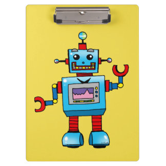 cute blue robot clipboard
