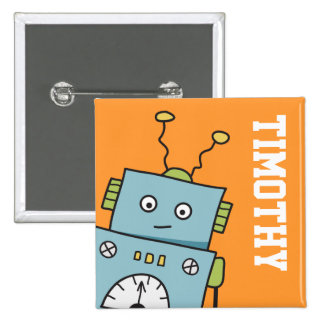 Cute Blue Robot with Personalized Name 2 Inch Square Button