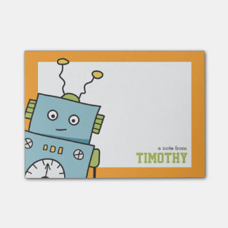 Cute Blue Robot with Personalized Name Post-it® Notes