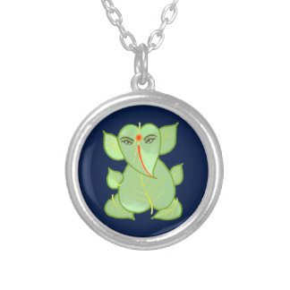 Cute Blue Silver Ganpati Necklace