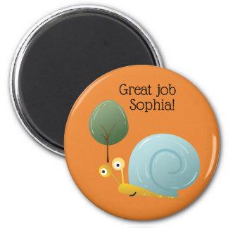 Cute Blue Snail Orange Art Schoolwork Refrigerator Magnet
