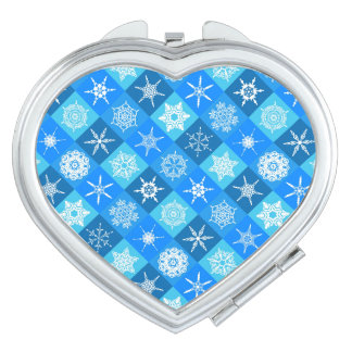 Cute blue snowflake patterns design compact mirror