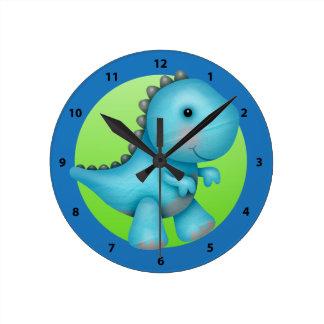 Cute Blue Stegosaurus Dinosaur Clock