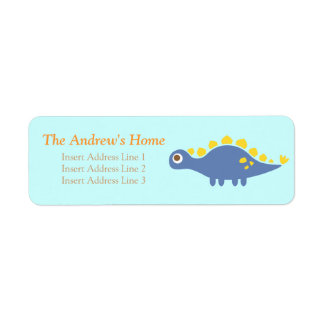 Cute blue Stegosaurus, dinosaur for kids Return Address Label