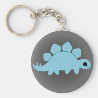 Cute Blue Stegosaurus on Grey Keychain