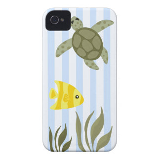 Cute Blue Stripe Ocean with Sea Turtle and Fish iPhone 4 Case-Mate Case
