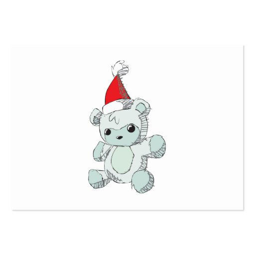 Cute Blue Teddy Bear Red Santa Hat Business Card Templates