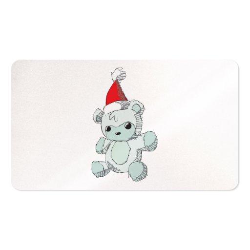 Cute Blue Teddy Bear Red Santa Hat Clock Wrapper Business Card