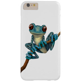 Cute Blue Tree Frog on a Branch White Barely There iPhone 6 Plus Case