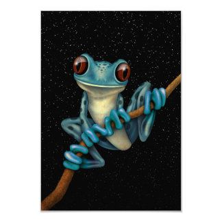"""Cute Blue Tree Frog on a Branch with Stars 3.5"""" X 5"""" Invitation Card"""