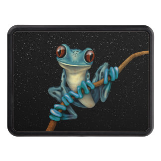 Cute Blue Tree Frog on a Branch with Stars Trailer Hitch Cover