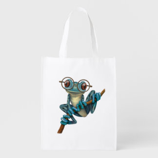 Cute Blue Tree Frog with Eye Glasses Market Tote
