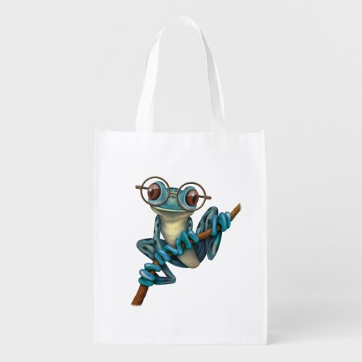 Cute Blue Tree Frog with Eye Glasses Grocery Bag