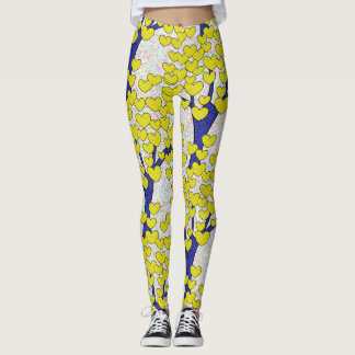 Cute Blue Trees with Gold Hearts Pattern Leggings