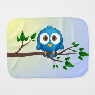 Cute blue twitter bird cartoon baby baby burp cloth